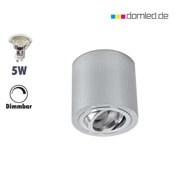 LED Aufbaustrahler-Set rund Alu-gebürstet  230V GU10 5W 2700-3000Kelvin warmweiß  dimmbar gute Qualität im Wohnraum von domled