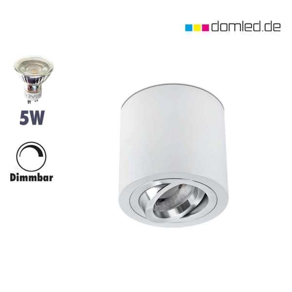 LED Aufbaustrahler-Set rund weiß  230V GU10 5W 2700-3000Kelvin warmweiß dimmbar gute Qualität im Wohnraum von domled